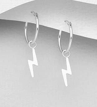 706-29946 - 925 Sterling Silver Lightning Hoop Earrings