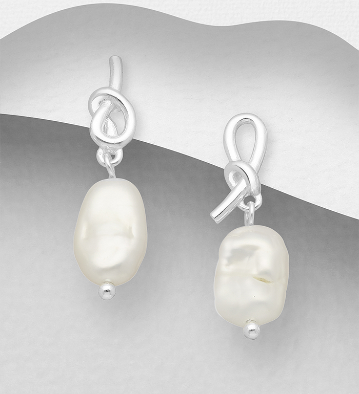 1063-2539 - 925 Sterling Silver Knot Push-Back Earrings, Beaded with Freshwater Pearls, Shape and Size Will Vary.