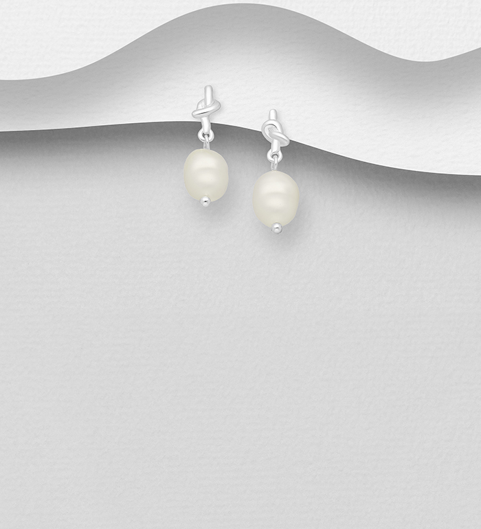 1063-2541 - 925 Sterling Silver Knot Push-Back Earrings, Beaded with Freshwater Pearls, Shape and Size Will Vary.