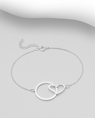 706-29979 - 925 Sterling Silver Circle And Heart Bracelet