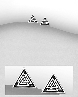 706-29983 - 925 Sterling Silver Oxidized Triangle And Valknut Push-Back Earrings
