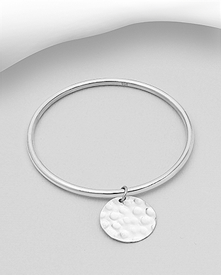 706-29998 - 925 Sterling Silver Bangle Featuring Hammered Circle Charm