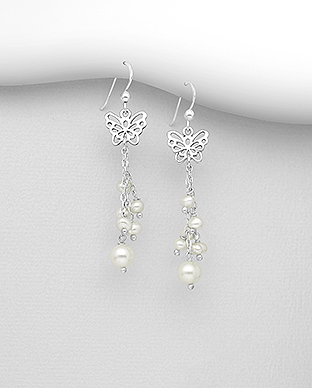 382-5325 - 925 Sterling Silver Hook Earrings Featuring Butterfly Beaded With Fresh Water Pearls