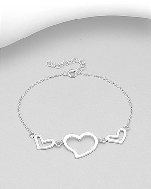 706-30059 - 925 Sterling Silver Bracelet Featuring Hearts