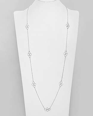 706-30105 - 925 Sterling Silver Circle Long Necklace