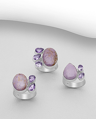 1851-302 - JEWELLED - 925 Sterling Silver Ring Decorated with Phosphosiderite and Amethyst. Handmade. Shape and Size Will Vary.