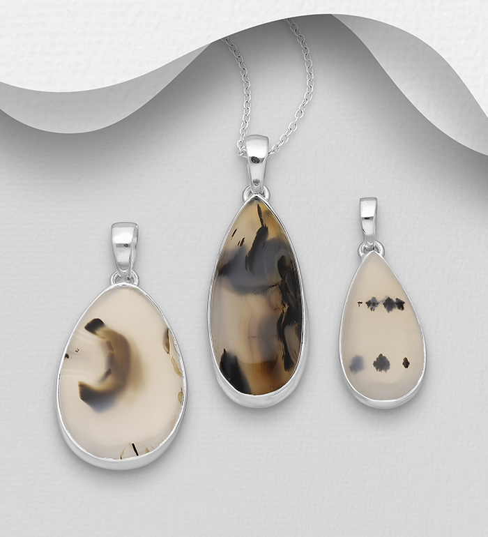 1851-305 - JEWELLED - 925 Sterling Silver Pendant Decorated with Montana Agate. Design, Shape and Size Will Vary.