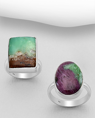 1851-307 - JEWELLED - Sterling Silver Ring Decorated with Chrysoprase. Handmade. Design, Shape and Size Will Vary.