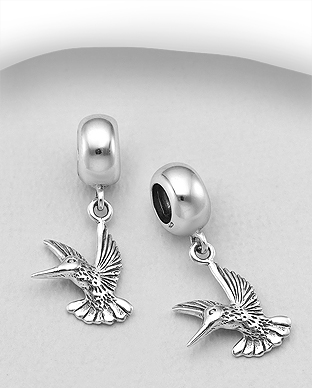 1559-515 - 925 Sterling Silver Oxidized Bird Bead-Charm