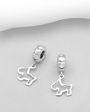 1559-517 - 925 Sterling Silver Dog Bead-Charm