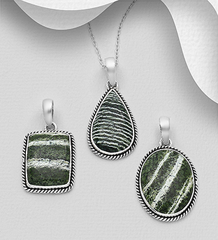 1851-313 - JEWELLED - 925 Sterling Silver Oxidized Pendant Decorated with Seraphinite. Handmade. Design, Shape and Size Will Vary.
