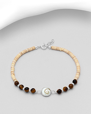 966-600 - 925 Sterling Silver Bracelet Beaded With Shiva Shell, Shell, And Various Semi-Gemstone Beads
