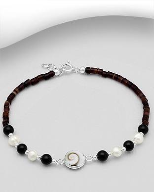 966-598 - 925 Sterling Silver Bracelet Beaded With Shiva Shell, Shell, Fresh Water Pearls And Semi-Gemstone Beads