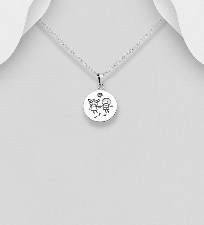 706-30212 - 925 Sterling Silver Oxidized Boy And Girl Pendant