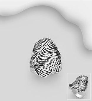 706-30219 - 925 Sterling Silver Oxidized Leaf Ring