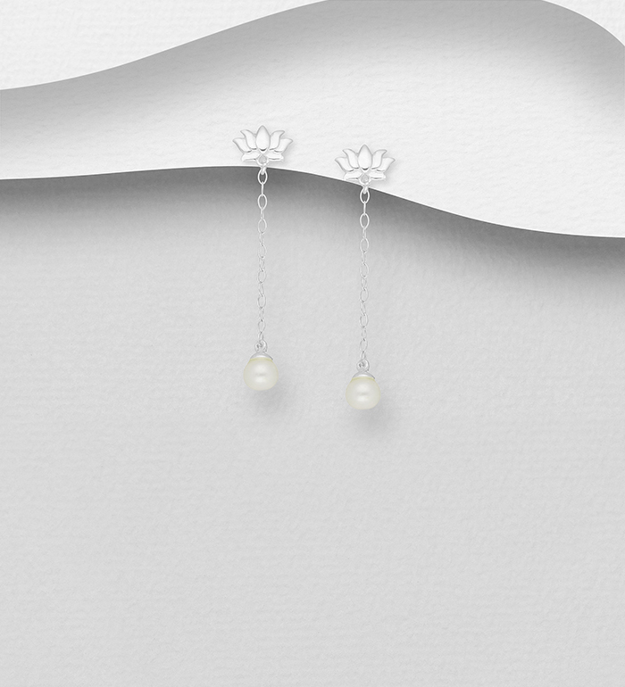1063-2596 - 925 Sterling Silver Lotus Push-Back Earrings, Decorated with Freshwater Pearls