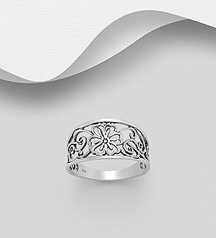 706-30269 - 925 Sterling Silver Oxidized Flower and Swirl Outline Ring