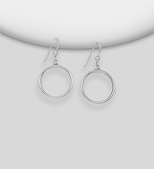706-30285 - 925 Sterling Silver Circle Hook Earrings
