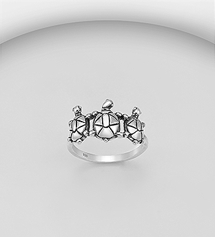 706-30290 - 925 Sterling Silver Oxidized Turtle Ring