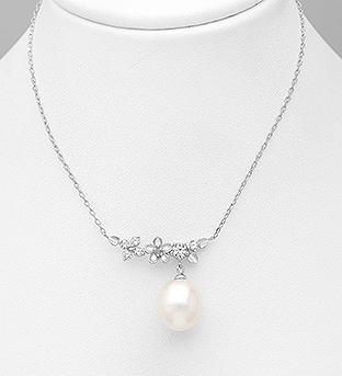 382-5341 - 925 Sterling Silver Necklace Featuring Flower Decorated With Fresh Water Pearl And CZ
