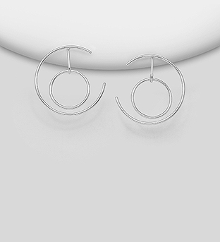 706-30314 - 925 Sterling Silver Circle Push-Back Earrings