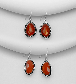 1851-333 - JEWELLED - 925 Sterling Silver Oxidized Hook Earrings Decorated with Red Agate. Handmade. Design, Shape and Size Will Vary.
