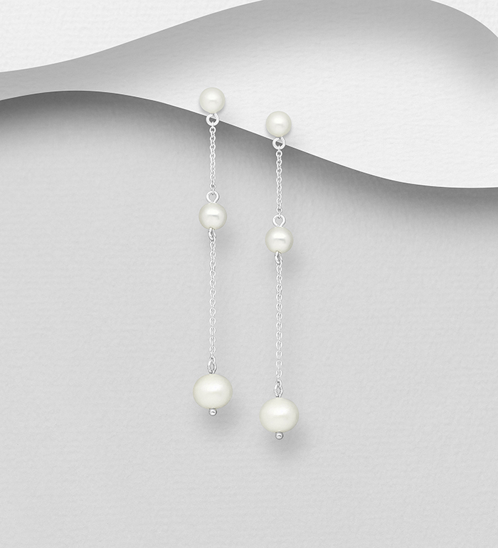 1063-2626 - 925 Sterling Silver Push-Back Earrings Beaded with Freshwater Pearls