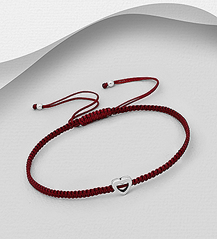 706-30390 - 925 Sterling Silver Heart Adjustable Thread Bracelet