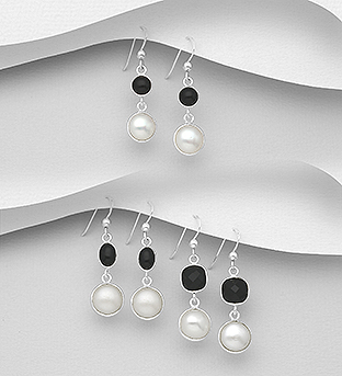 1851-341 - JEWELLED - 925 Sterling Silver Hook Earrings Decorated with Freshwater Pearls and Onyx. Handmade. Design, Shape and Size Will Vary.
