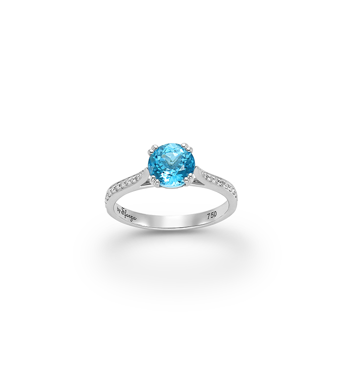 33-0046 - Engagement Ring in 18K White Gold, Decorated with Blue Topaz and Diamonds