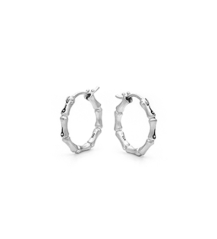 33-0001 - Italian Craftmanship - Small Bamboo Hoop Earrings in Sterling Silver
