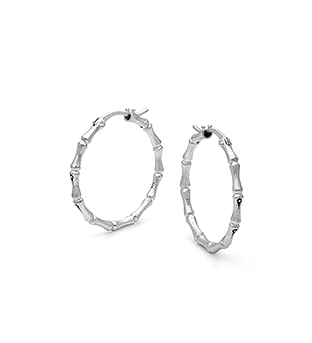 33-0002 - Italian Craftmanship - Large Bamboo Hoop Earrings in Sterling Silver