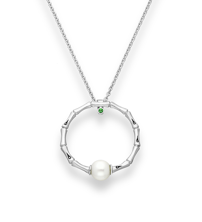 33-0005 - Italian Craftmanship - Circle of Life Bamboo Necklace in Sterling Silver, Decorated with Freshwater Pearl and Tsavorite.