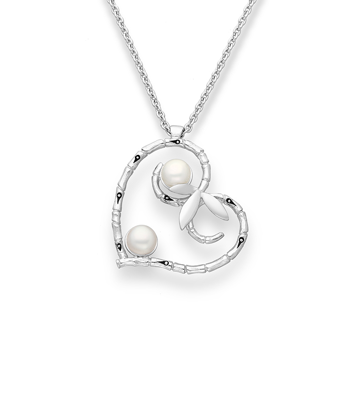 33-0007 - Italian Craftmanship - Heart Bamboo Necklace in Sterling Silver, Decorated with Freshwater Pearls
