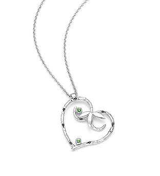 33-0008 - Italian Craftmanship - Heart Bamboo Necklace in Sterling Silver, Decorated with Tsavorites