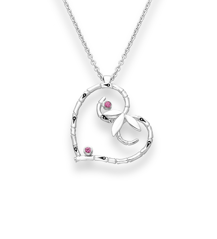 33-0009 - Italian Craftmanship - Heart Bamboo Necklace in Sterling Silver, Decorated with Pink Sapphire.