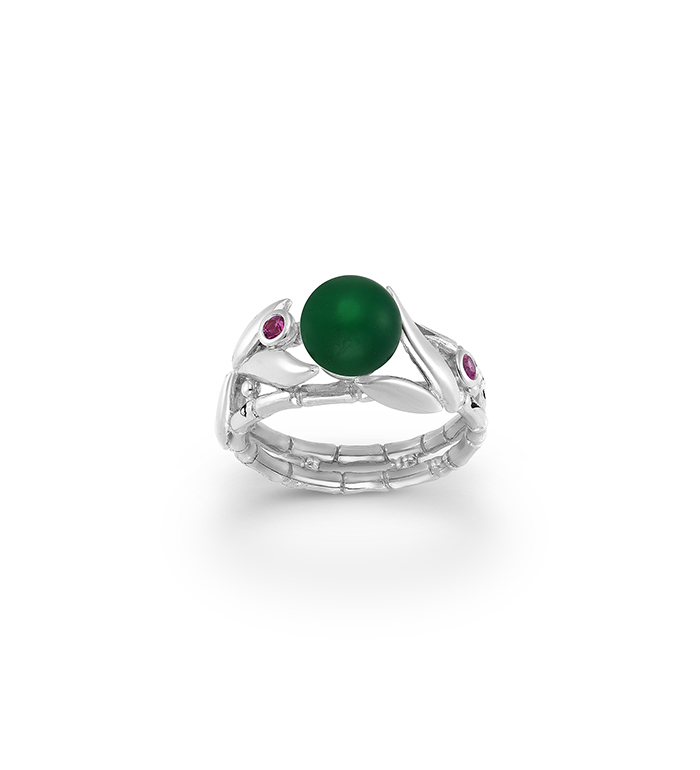 33-0049 - Italian Craftmanship - Bamboo Double Band Ring in Sterling Silver with Green Carnelian and Pink Sapphires.