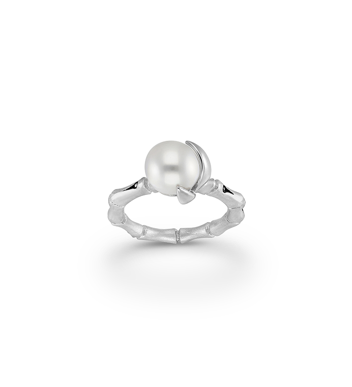 33-0050 - Italian Craftmanship - Bamboo Band Ring in Sterling Silver with Freshwater Pearl