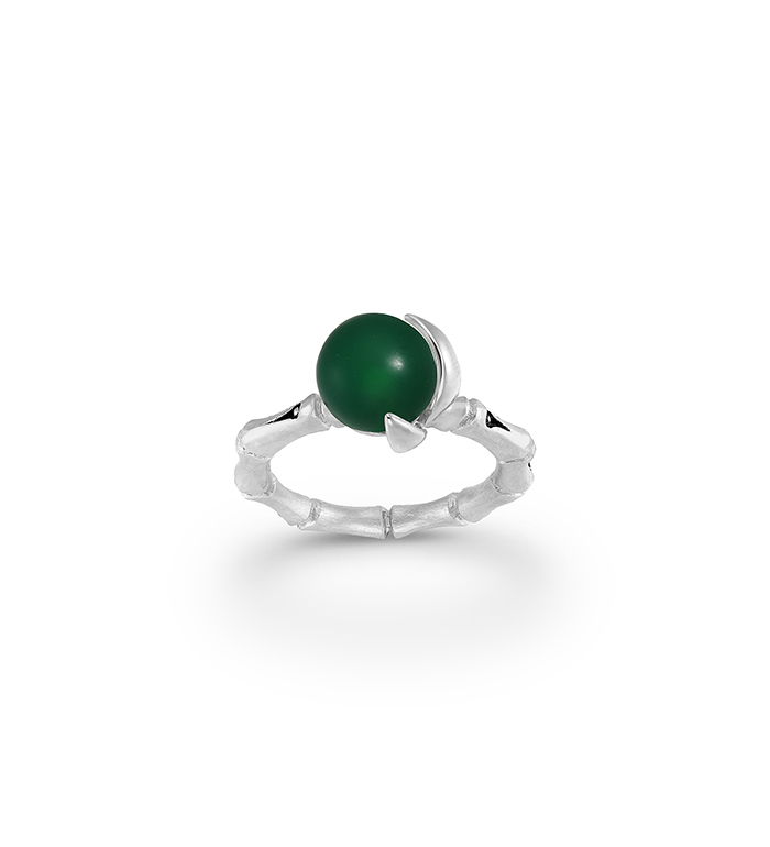 33-0051 - Italian Craftmanship - Bamboo Band Ring in Sterling Silver with Green Carnelian