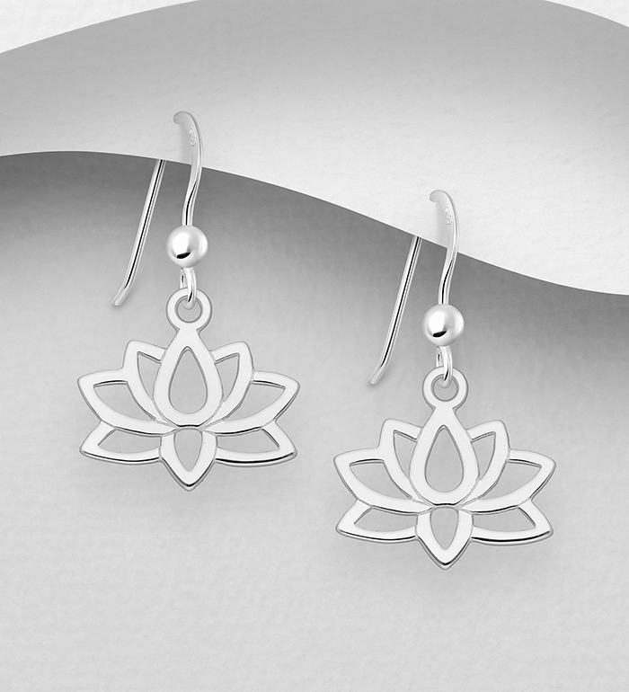 1063-2655 - 925 Sterling Silver Lotus Hook Earrings