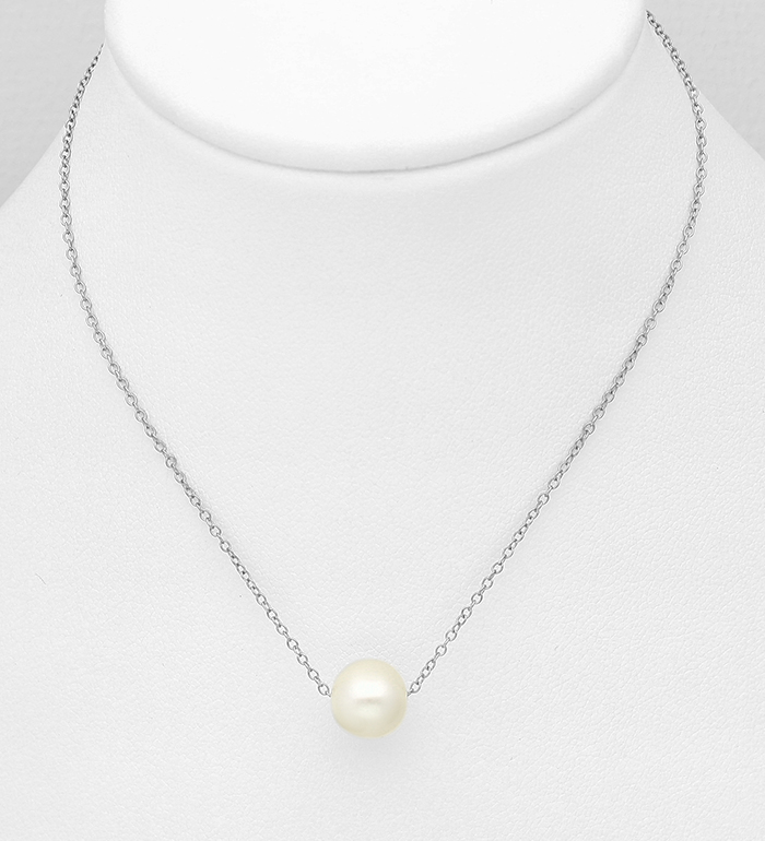 382-4958B - 925 Sterling Silver Necklace Beaded With Fresh Water Pearls