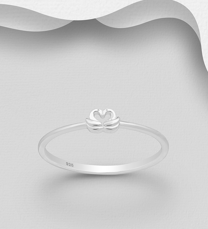 1063-2656 - 925 Sterling Silver Heart Swan Ring