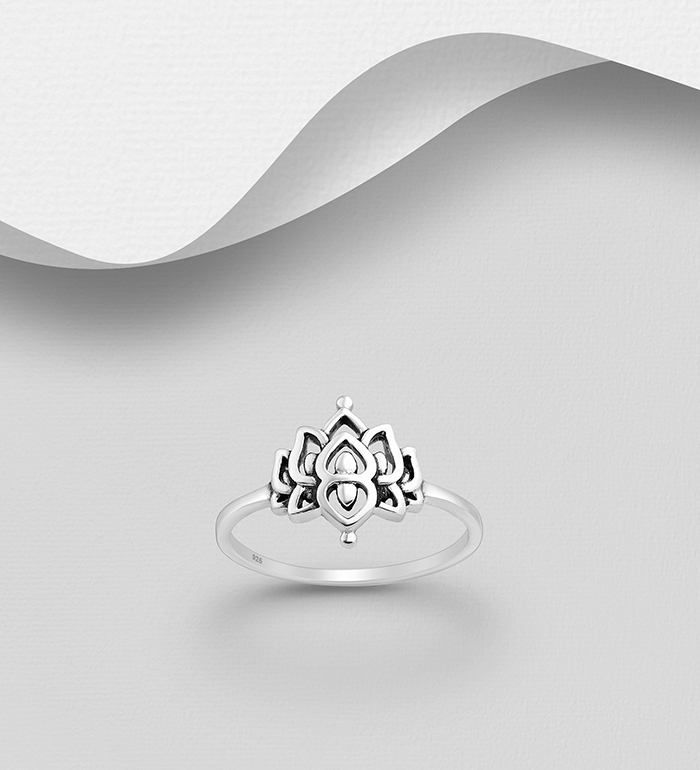1063-2664 - 925 Sterling Silver Oxidized Lotus Ring