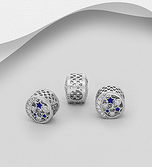 1559-524 - 925 Sterling Silver Heart, Moon And Star Bead Decorated With Colored Enamel And CZ