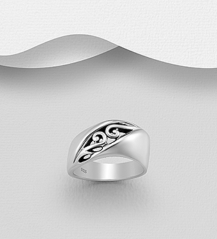 706-30525 - 925 Sterling Silver Oxidized Swirl Ring