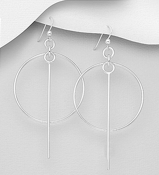 706-30528 - 925 Sterling Silver Bar And Circle Hook Earrings
