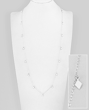706-29673 - 925 Sterling Silver Geometric Necklace Featuring Rhombus Charms