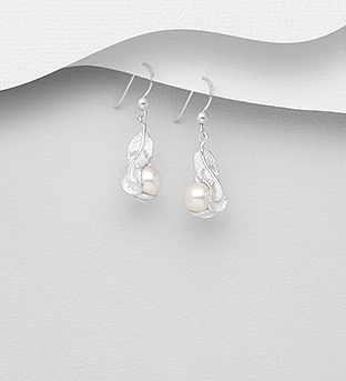 382-5391 - 925 Sterling Silver Feather Hook Earrings Decorated with Freshwater Pearls