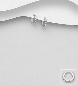 964-1029 - 925 Sterling Silver Hoop Earrings Decorated With Simulated Pearls
