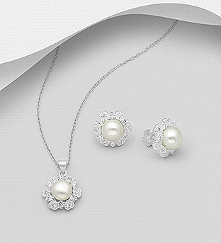 382-5392 - 925 Sterling Silver Set Of Push-Back Earring and Pendant Decorated with CZ Simulated Diamonds and Freshwater Pearls